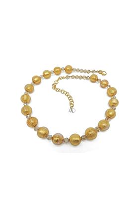 Murano Glass Bead Golden Heart Necklace