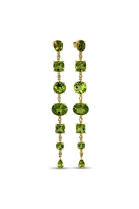 18kt Yellow Gold Earrings With Peridot & 12 Diamonds