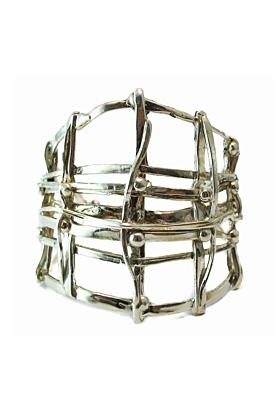 Open Weave Silver Cage Cuff