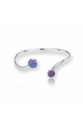 Hammered Sterling Silver Torq Bangle Set With Vibrant Purple Opals