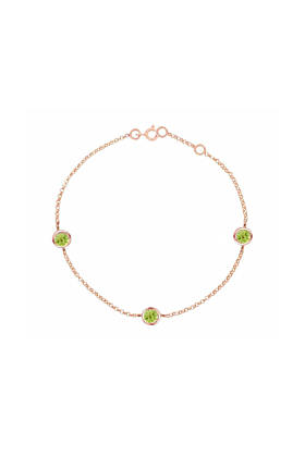 Stylish Rose Gold Peridot Dew Drop Bracelet