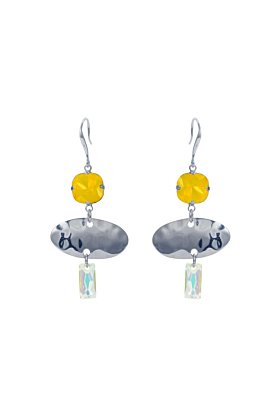 Sterling Silver Plated Oval Textured Yellow Earrings