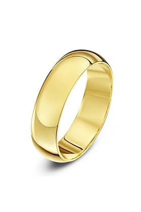 9kt Yellow Gold Heavy D-Shape Wedding Ring