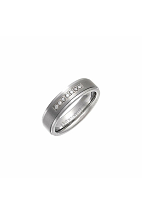 Titanium & Round Diamonds Flat Court-Shape Embossed Wedding Ring