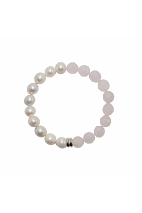 Sterling Silver Orbis Pearl & Rose Quartz Bracelet