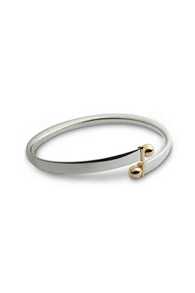Silver & 9kt Yellow Gold Bead Torque Bangle