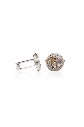 Silver Plated Brass Antique Waltham Watch Movements Cufflinks