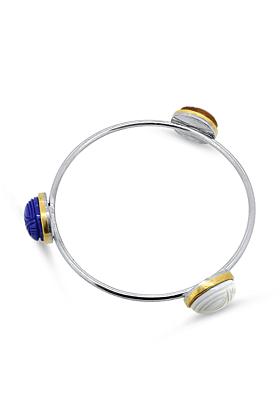 Sterling Silver Bracelet With Lapis Lazuli, Agate & Carnelian
