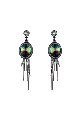 Gunmetal Petrol Oval Cluster Earrings