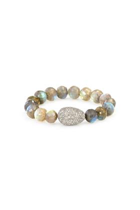 Sterling Silver Labradorite Beads Diamond Egg Bracelet