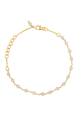Olivia Beaded Gemstone Bracelets Gold Rose Quartz