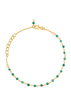 Olivia Beaded Gemstone Bracelets Gold Green Onyx