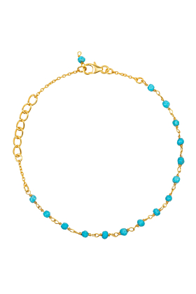 Olivia Beaded Gemstone Bracelets Gold Turquoise