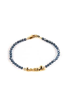 Gold Chattering Skull Stack Swarovski Bracelet