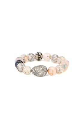 Sterling Silver Spiderweb Agate & Diamond Egg Bracelet
