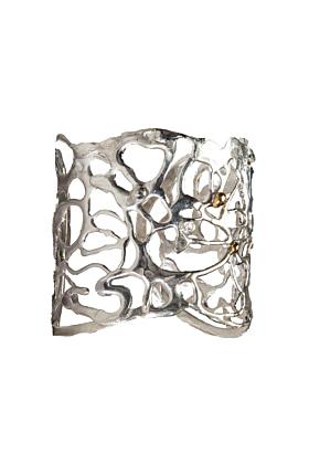 Silver Botswana Fluidity Cuff Bracelet