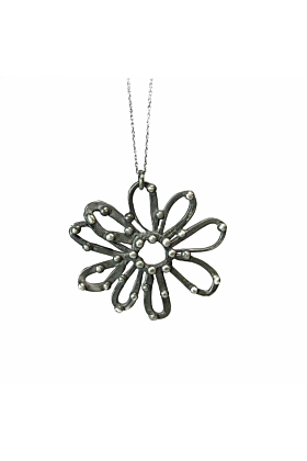 Large Sterling Silver Oxidized Daisy Pendant