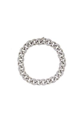 Sterling Silver Essential Mini Pave Link Bracelet