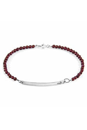 Red Garnet Purity Silver and Stone Bracelet