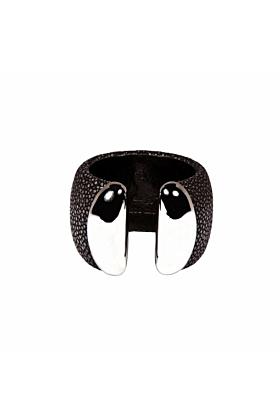 Samba Silver Ends Black Stingray Leather Bangle