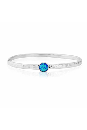Sterling Silver & Blue Opal Bangle