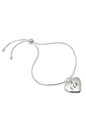 Personalised Heart Slider Sterling Silver Bracelet