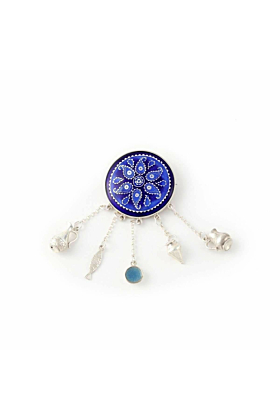 Blue Brooch with Georgian Traditional Elements