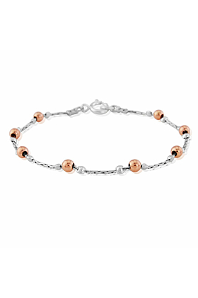 Sterling Silver & Rose Gold Bracelet Small