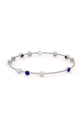 Blue & White Cubic Zirconia Jamaican Bracelet