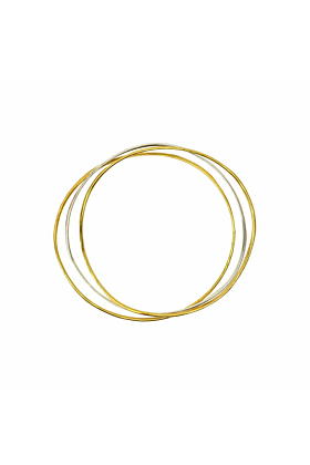Wave Bangle Cluster - Two Vermeil, One Silver
