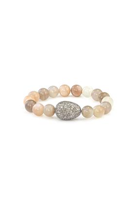 Sterling Silver Grey & Brown Moonstone Diamond Egg Bracelet