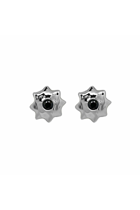 Sterling Silver & Black Spinel Moroccan Star Stud Earrings