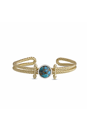 Yellow Gold Plated Golden Rays Turquoise & Diamond Cuff