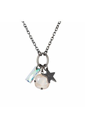Brass Matt Gunmetal Star Cluster Necklace