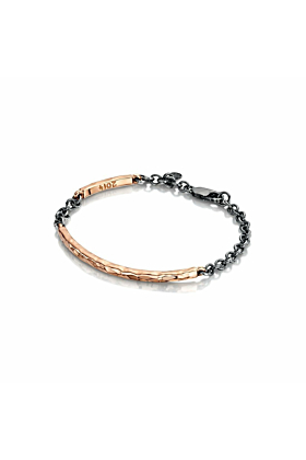 Rose Gold Beaten Bangle with Oxidised Silver Chain | Becky Rowe