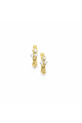 Burlington Yellow Gold Willow Pearl Hoop Earrings