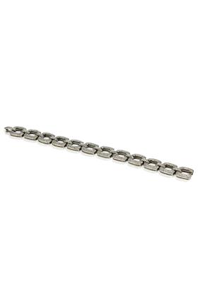 Rhodium Plated Silver Diamond Link Bracelet