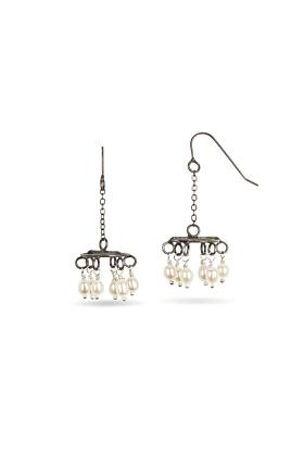 Sterling Silver Chandelier Earrings With Pearls