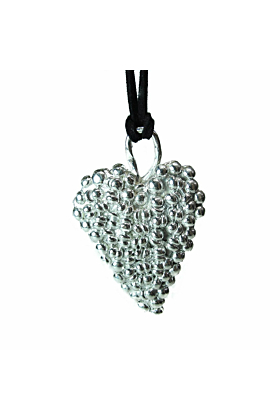 Large Gothic Shiny Sterling Silver Heart Pendant