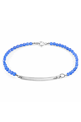 Blue Agate Purity Silver and Stone Bracelet