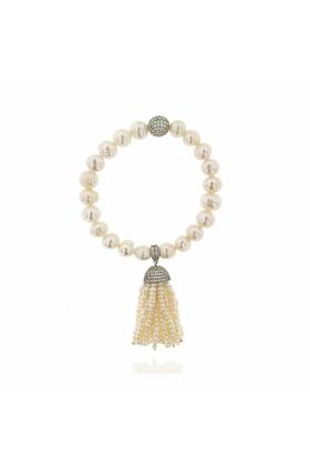 Rhodium Plated Pearl Tassel Bracelet