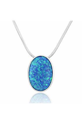 Sterling Silver Oval Blue Opal Pendant