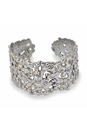 Sterling Silver Honeycomb Molten Cuff