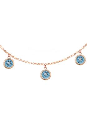 Stylish Rose Gold Blue Topaz Dew Drop Necklace