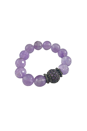 Rhodium Plated Silver Amethyst & Diamond Beaded Bracelet