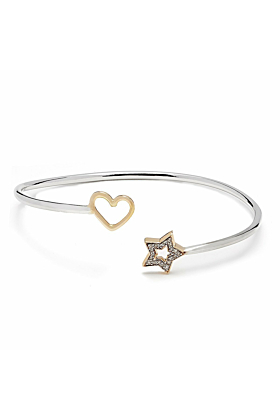 Rose Gold & Sterling Silver Open Heart and Star Bangle | Kaizarin