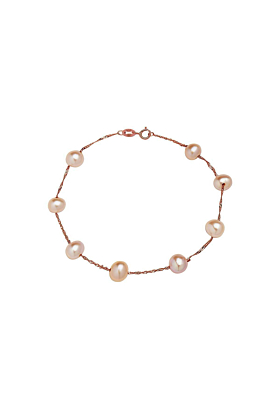 Tin Cup Pearl Bracelet Rose Gold