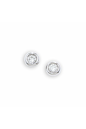 White Gold Raindrop Diamond Solitaire Earrings