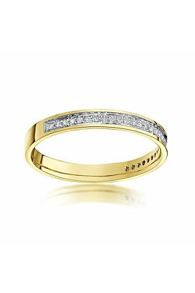 9kt Yellow Gold Round Diamond Eternity Wedding Ring