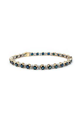 9kt Yellow Gold Round Sapphire Line Bracelet With Diamonds